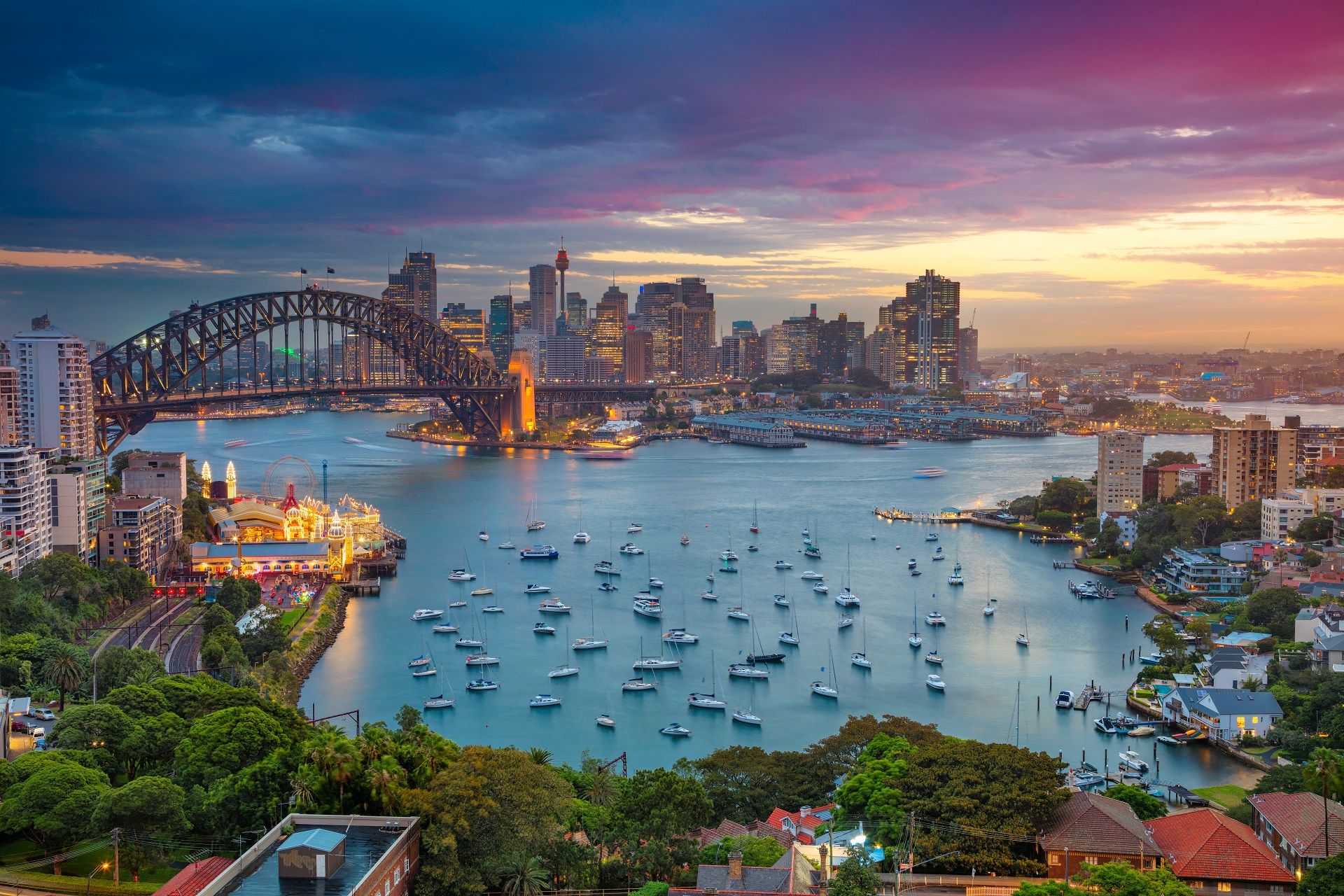 Sydney, Australia with Harbour Bridge_590390942