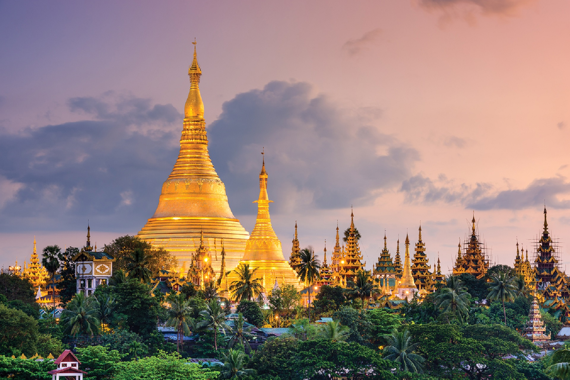 Yangon, Myanmar view of Shwedagon Pagoda _328520822